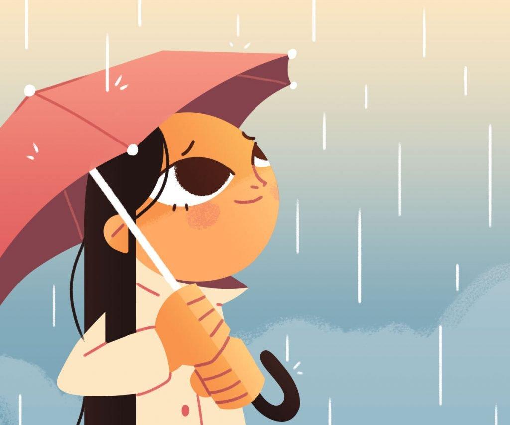 Illustration of girl in the rain holding umbrella