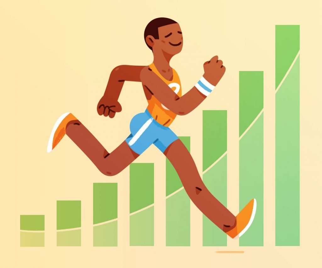 Illustration of man jogging in track outfit with graphs in the background