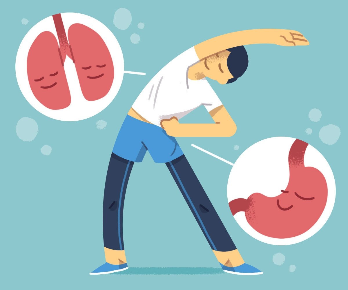 Illustration of man doing a side-stretch with lungs and stomach magnified