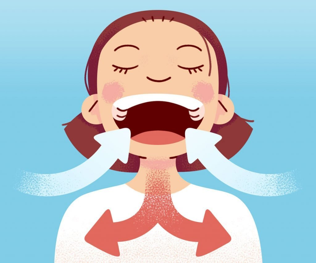 Illustration of girl taking a deep breath, arrows indicate air flowing in and out of her lungs