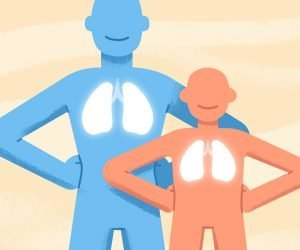 adult and child with glowing lungs