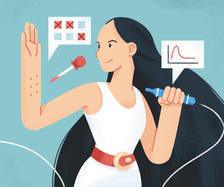 woman receives skin prick test while holding spirometer