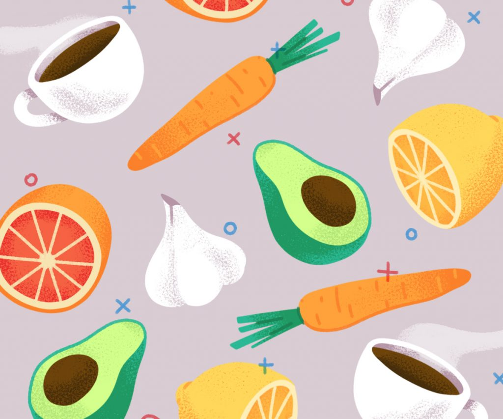 carrots, grapefruit, lemons, garlic and coffee