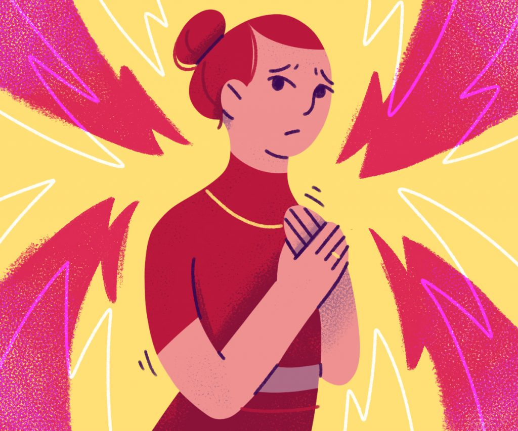 anxious woman surrounded by chaotic shapes