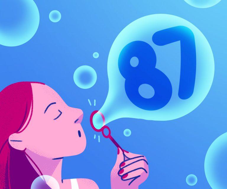 woman blowing bubble with FEV1 score in it