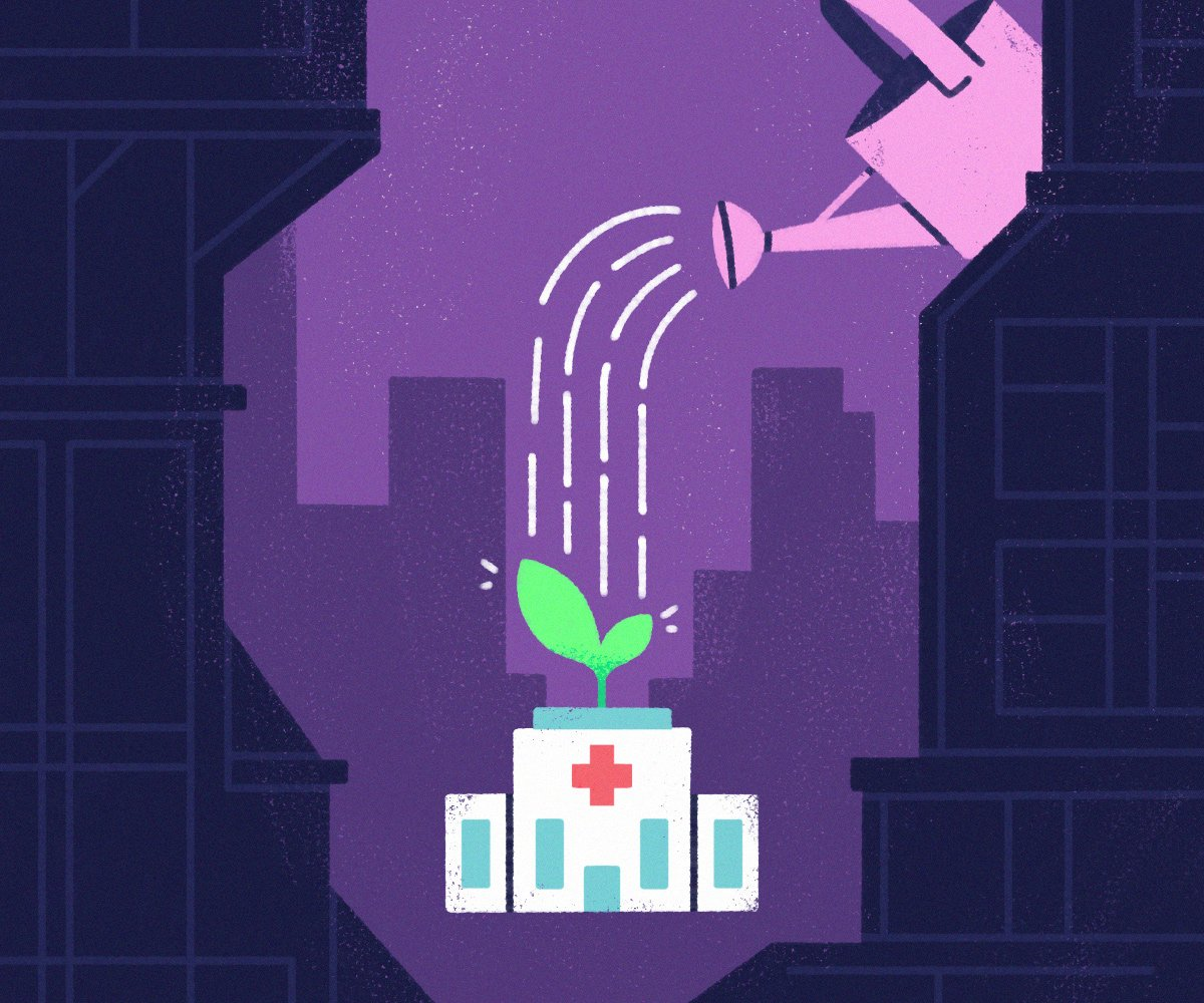 a watering can waters a plan atop a medical building Growing Your Private Medical Practice With RPM